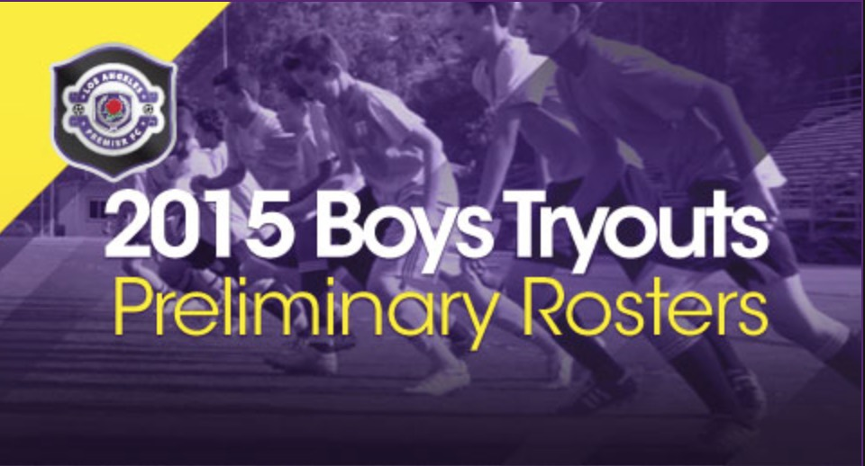 2015 Boys Tryout Preliminary Rosters