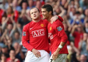 Rooney and Ronaldo while playing for Man U