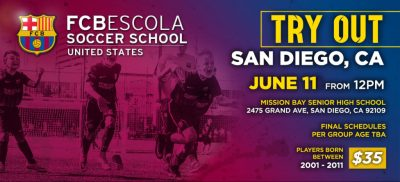 FC Barcelona's San Diego Escola Program Hosting Tryouts June 11th